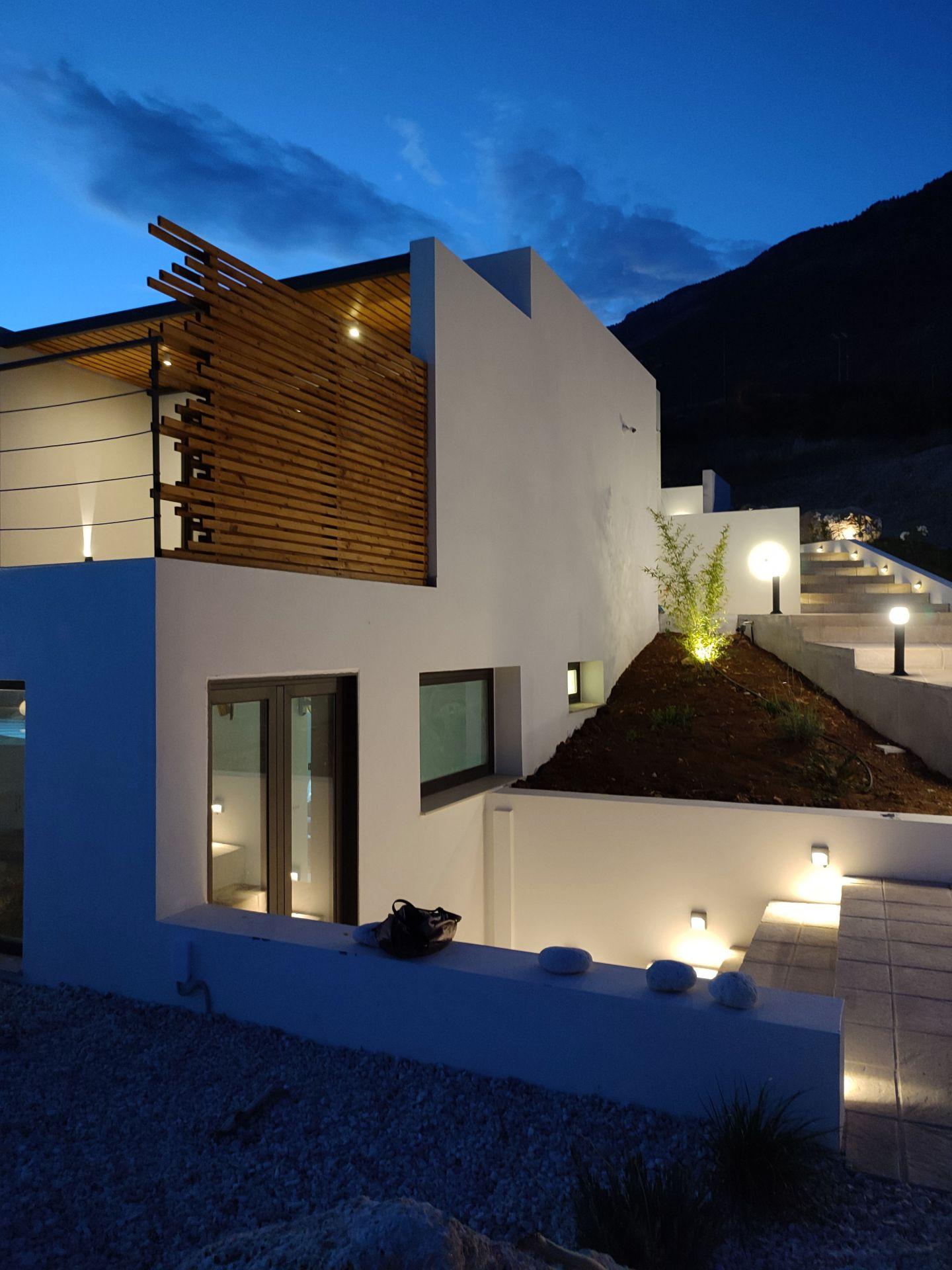 Escape Suites exterior at night